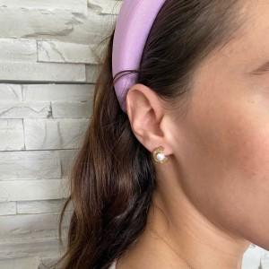 Earrings with Steel Pearls in Yellow Gold AJ (SKK0048X)