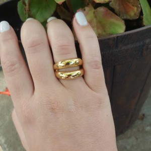 Women's Ring from Steel to Yellow Gold AJ (DK0018X)