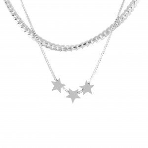 Necklace-Double with Stars from Steel in Silver AJ (KK0233A)