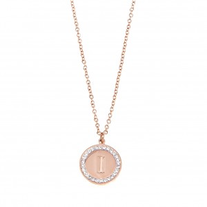 Monogram I Necklace from Steel in Pink Gold AJ (KM0078RX)