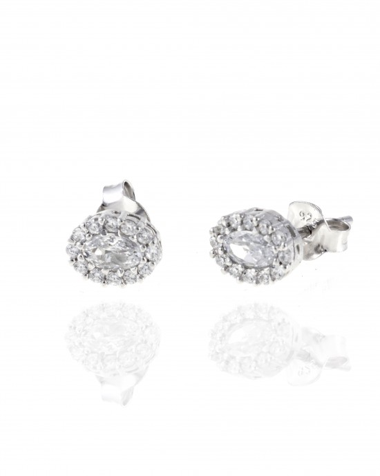 Silver 925 Women's earrings in silver color platinum plated with zircon stones AJ (SKA0029)